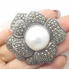 Vtg Judith Jack 925 Silver Marcasite Gem Faux Pearl Large Floral Pin Brooch