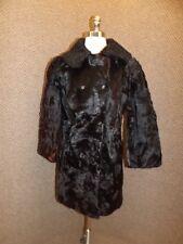 Vtg Custom Made Natural Genuine Cow Hide & Persian Lamb Fur Coat Sz S Peacoat