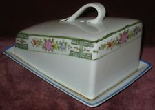 ANTIQUE HP NIPPON COVERED CHEESE DISH SLANTED HANDLE RISING SUN MARK 1890-1921
