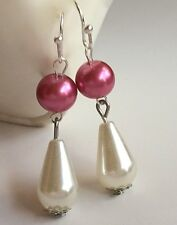Silver Pink White Pearl Earrings Plated Round Dangle Bridal Vintage Style