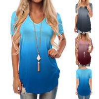 UK Women's Short Sleeve V-Neck Gradient Colour Loose Casual Tee T-Shirt Tops T3