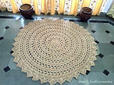 """Hand Crocheted Jute Area Rug 60"""" Handmade Crochet Vintage Style Lace Doily Large"""
