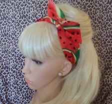RED GREEN MELON FRUIT WATERMELON PRINT COTTON BENDY WIRE HAIR HEADBAND 50s RETRO