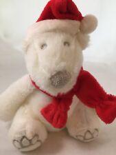 """Bath & Body Works Polar Bear with Santa Hat Scarf Plush Stuffed Animal Toy 8"""""""