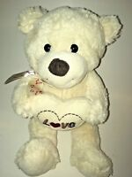 "Dan Dee White Love Heart Bear 12"" Plush Stuffed Animal"