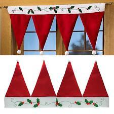 Christmas Santa Xmas Red Hat Window Valance Curtain Banner Pennant Home Decor