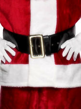 Santa Claus Belt Black Plastic Christmas Santas Fancy Dress Accessory
