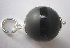 Onyx-Anhänger 16 mm Kugel teilmattiert Kettenanhänger 925 Silber