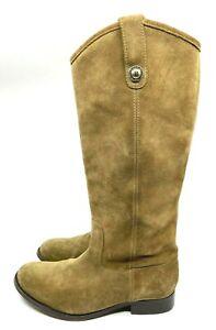 Frye Dark Tan Suede Boots Knee High Pull On Almond Toe Block Heel Size 8.5