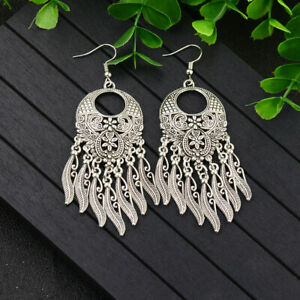 Dangle Drop Boho Chic Hippie Tibetan Silver Earrings Cheap-READ DESCRIPTION