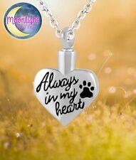 New Always in my Heart Pet Cremation Urn Keepsake Ash Silver Memorial Necklace