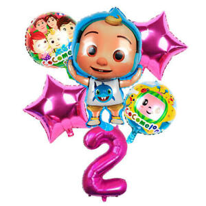 COCOMELON Pink Balloon Set for 2nd Birthday Party FOIL HELIUM Decorations Kids 2