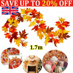 Artificial Autumn Fall Maple Leaves Garland Hanging Plant Halloween Home Decor-F