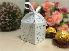 50x Laser Cut Elephant Baby Shower Baptism Nursery Christening Favors Candy Box