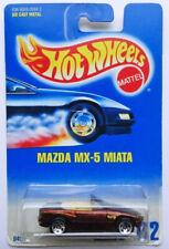1992 - Hot Wheels - MAZDA MX-5 MIATA - Card #172 - Dark Maroon - HTF -FREE SHIP