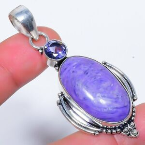 """Charoite & Amethyst 925 Sterling Silver Jewelry Pendant 2.4"""" W2477"""