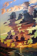 GORGEOUS, LARGE ORIGINAL LANDSCAPE, SEASCAPE SUNSET PAINTING, BEAUTIFUL CLOUDS,