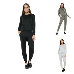 Ladies Womens Long Sleeve Co-ord Round Neck Running Plain Suit UK Size 8-18