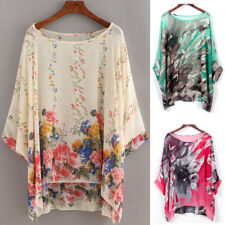 Lagenlook Plus Size Sheer Kimono Top Tunic Shirt Cover Up Floral Chiffon Kaftan