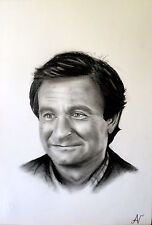 Robin Williams - ritratto portrait grafite e carboncino cm. 33 x 48