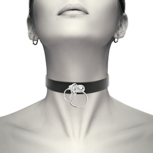 Black choker necklace for women Vegan Leather Coquette bsdm tools - Double Ring