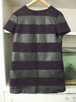 ZARA WOMAN BLACK FAUX LEATHER STRIPED TUNIC DRESS - SIZE L
