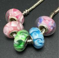 3Pcs Charm European Lampwork Murano Glass Beads Loose Spacer Bead DIY Findings