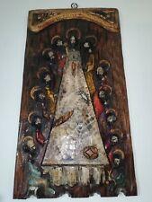 """Panneau religieux en bois sculpté polychrome Jésus et les 12 apôtres """"la Cène"""""""