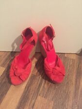 Brand New Red Suede Strappy Wedges Carvela Size 3