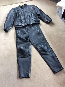 Mens Leather Bike Two Piece Black 36 Jeans 46 Jacket