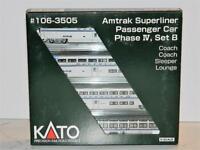 KATO N Scale Amtrak Superliner Passenger Car Phase IV Set B #106-3505 NIB