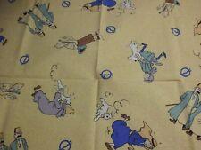 "coupon tissu  "" Tintin ""   80 X 80 cm (   HERGE / 1994 )"
