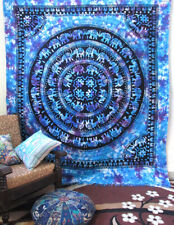 Queen Size Indian Mandala Elephant Blue Tie Dye Room Decorative Wall Tapestry