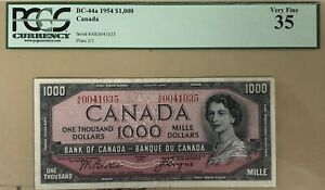 1954 Bank of Canada $1000 Banknote PCGS Very Fine 35 - Cat#BC-44a - Sale