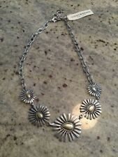 """Lucky Brand Floral Collar Necklace Two Toned Silver Chain 20"""" With 2"""" Extender,"""