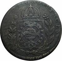 1827 R BRAZIL w Pedro I Floral Wreath Genuine Antique 80 Reis Coin i78257