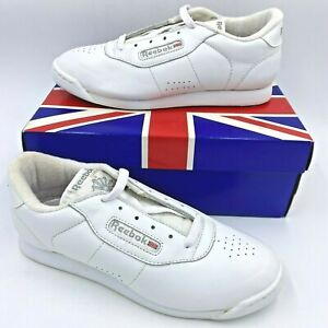 Vtg 90s Reebok Princess Junior Classic Athletic Shoes size 4.5 White Leather A2