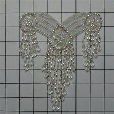YOKE NECKLINE SEQUIN PEARL BRIDAL BELLY DANCE BEADED APPLIQUE 2703-WD