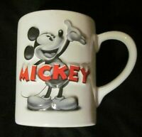 Disney Theme Parks 3D Ceramic Black & White Original Mickey Mouse Coffee Mug EUC