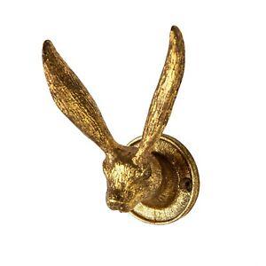 Sass & Belle Vintage Gold Rabbit Ears Metal Pewter Coat Hat Hook Hanger