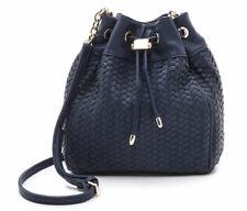 Deux Lux Womens Drawstring Woven Bucket Bag Vegan Black Backpack Modern Style