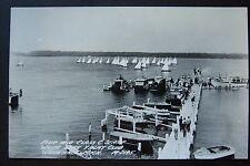 Pier & Class C Start WHITE LAKE YACHT CLUB, Whitehall, MI, RPPC postcard 1950