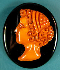 Vintage Bakelite Cameo Pin Brooch Woman's Face
