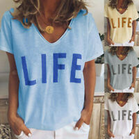 Womens Casual Short Sleeve V Neck Life Letter Printed T Shirt Tops Blouse Tunic