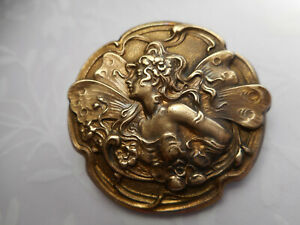 """Brass Fairy Woman w/ Curly Hair Vintage Button 1-3/16"""" NP"""