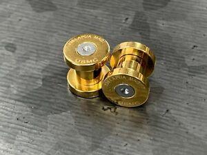 PAIR Gold Ion Plated .338 Lapua Mag USMC Bullet Plugs Internally Threaded Gauges
