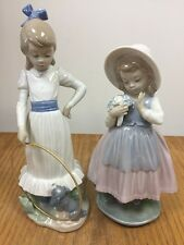 Nao by Lladro Pair of Figurines - GIRL WITH FLOWERS and GIRL WITH HOOP & DOG