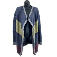 CAbi #467 Colorblock Blanket Cardigan Open Front Navy 100% Cotton Sweater SIZE M