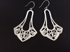 Genuine 925 Sterling Silver Teardrop Earrings Pear Shape Filigree Long Large