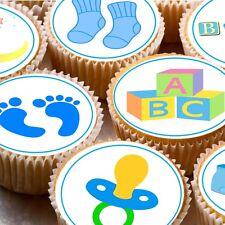 24 Commestibili DECORAZIONI PER TORTA DECORAZIONI NEW BABY BOY DOCCIA miste per cupcake CUP CAKE